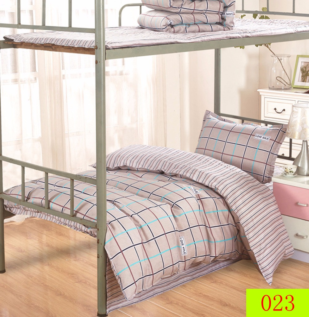 Disposable Bed Sheets Canada: Simple Plaid Twin Single Bed Cotton 3Pcs Bedding Set