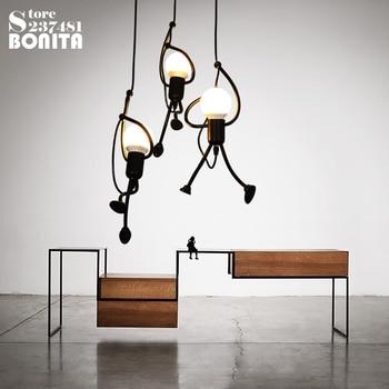 Nórdicos de hierro colgante luces para comedor pequeño hombre trepar a los  árboles de colgante lámpara Vintage lámparas colgantes Loft, ...