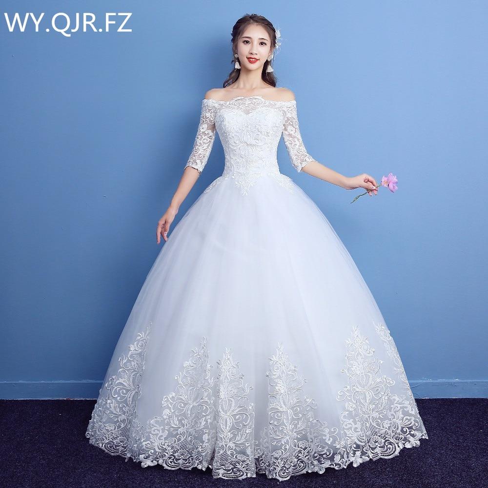 LYG-D09#Boat Neck Half Sleeve Bride Long To Floor Lace Up Wedding Party Prom Dress 2020 Summer New Wedding Dresses Custom
