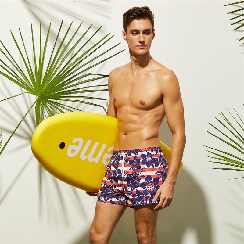 2019 Surf Beach   Board     Shorts   Print Drawstring Swimsuit Men Swimwear Swim Bathing Suit Quick Dry Sportswear New Sport Pant Trunks