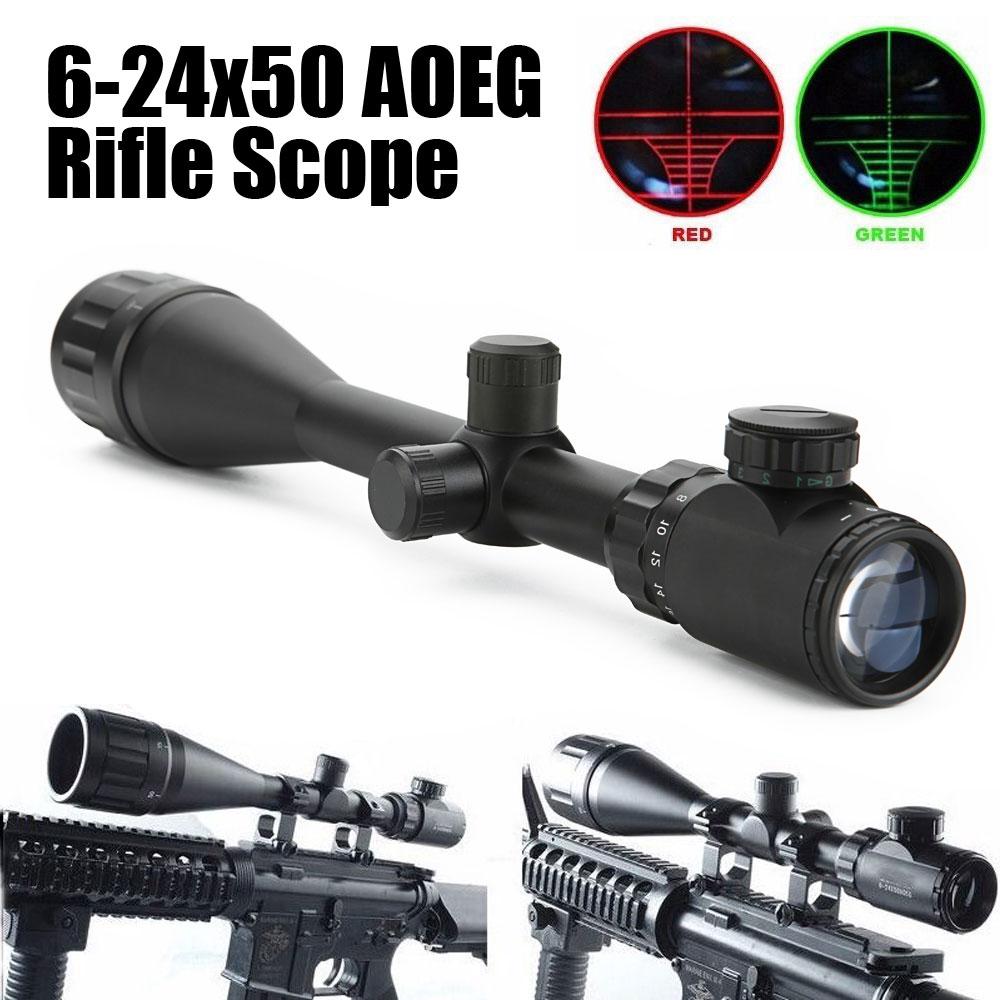 6-24x50 AOEG Rifle Scope Red Green Dual illuminated Hunting Optical Gun Scope tactical hunting optics rifle scope 6 24x50 aoeg red