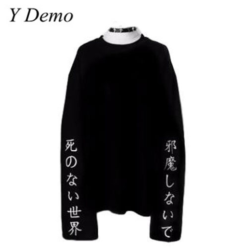 Y Demo Punk Flannel T shirt Long Sleeve Hell Heavy Embroidery Sweatshirts Female Loose Streetwear T