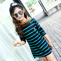 2017 long t shirts spring autumn dress for little teenage girl red green blue striped girl long sleeve dress 2017 kids clothes