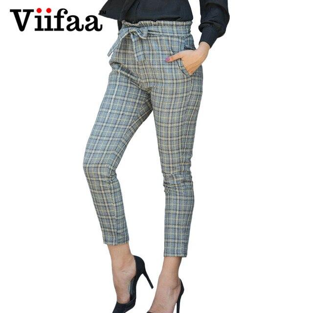 Famous Viifaa Office Lady Slim Plaid Pants Women 2018 Summer High Waist  ET91