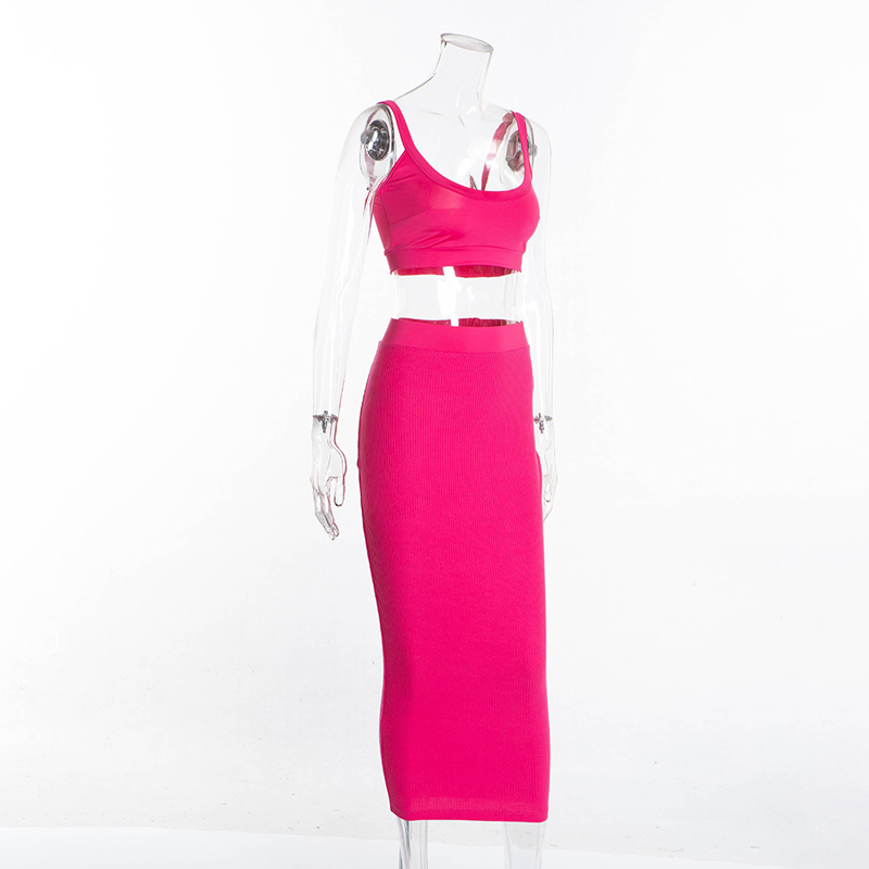 Women Sexy Summer Solid Pink Sun Dresses Evening Night Wear 2019 Sleeveless Low Neckline High Waist Bodycon Bandage Autumn Dress in Dresses from Women 39 s Clothing