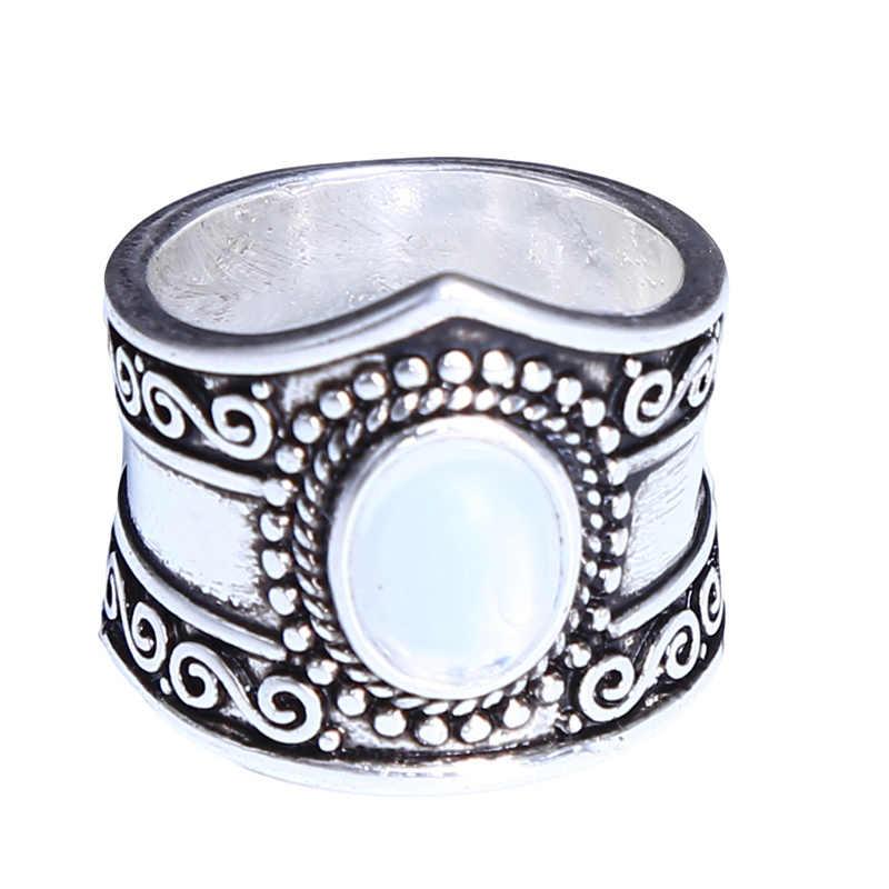 Moonstone สีดำ ONYX Retro คุณภาพสูงเครื่องประดับ VINTAGE เงินไทยหญิงแหวนสำหรับงานแต่งงานงานหมั้น