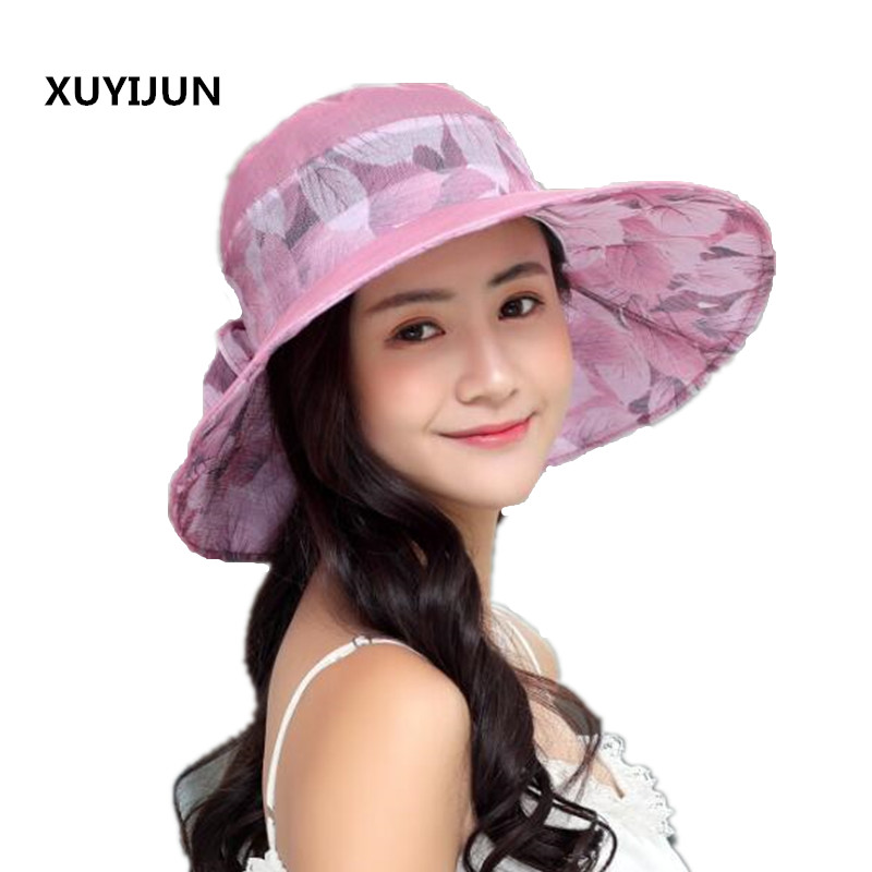 Ymsaid Summer Large Brim Beach Sun Hats Women UV Protection Women Caps With Big  Head Foldable Style ... 1631561c1a79