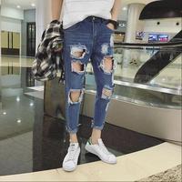 M XXL Summer Korean version of the GD same paragraph men's large hole jeans feet pants youth tide men nine pants