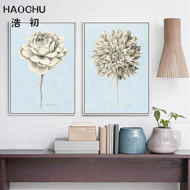 Online Shop HAOCHU Sketch Arts Flowers Bouquets Print Poster Dahlia ...