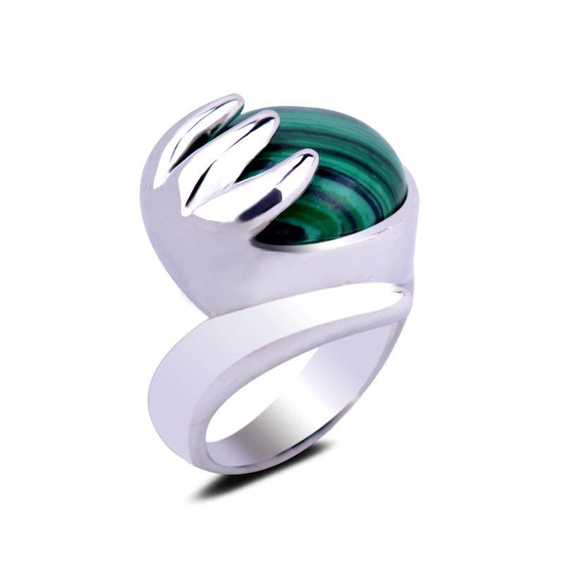 Natural Malachite Stone Setting Buddha Hand Claw Bless Gemstone Silver Ring 7/8/9 Size Crystal Finger Ring for Women Men Jewelry