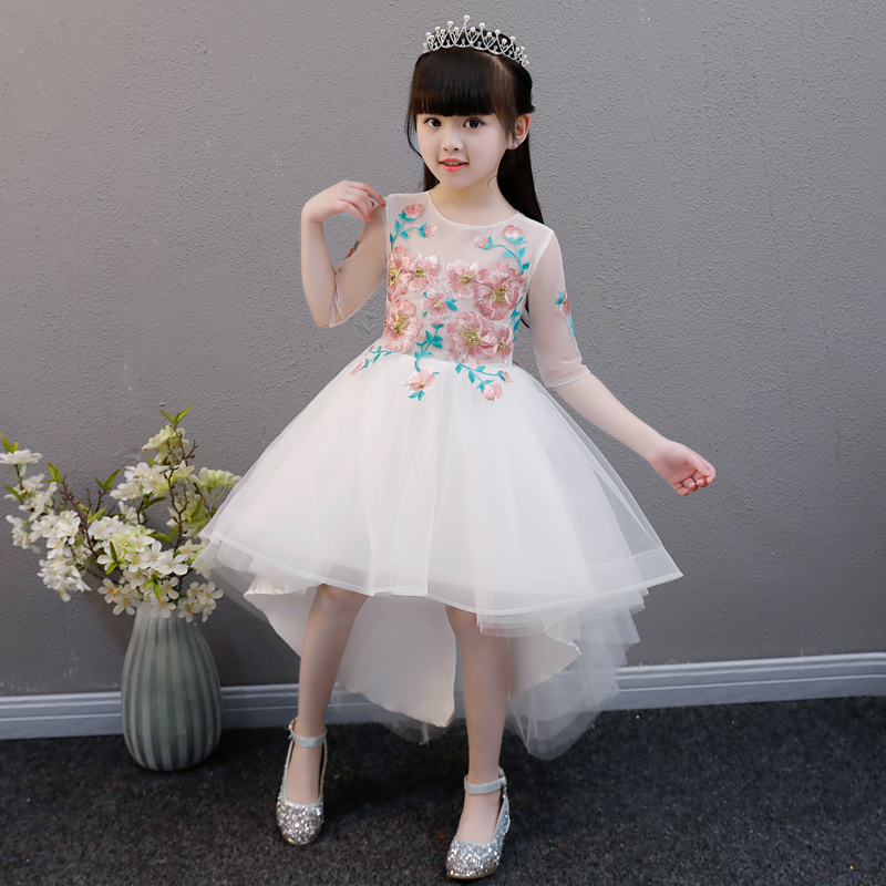 Здесь продается  2018 New Children Kids Babies Elegant Fashion Embroideried Flowers Princess Tail Birthday Wedding Party Tutu Ball Gown Dress  Детские товары