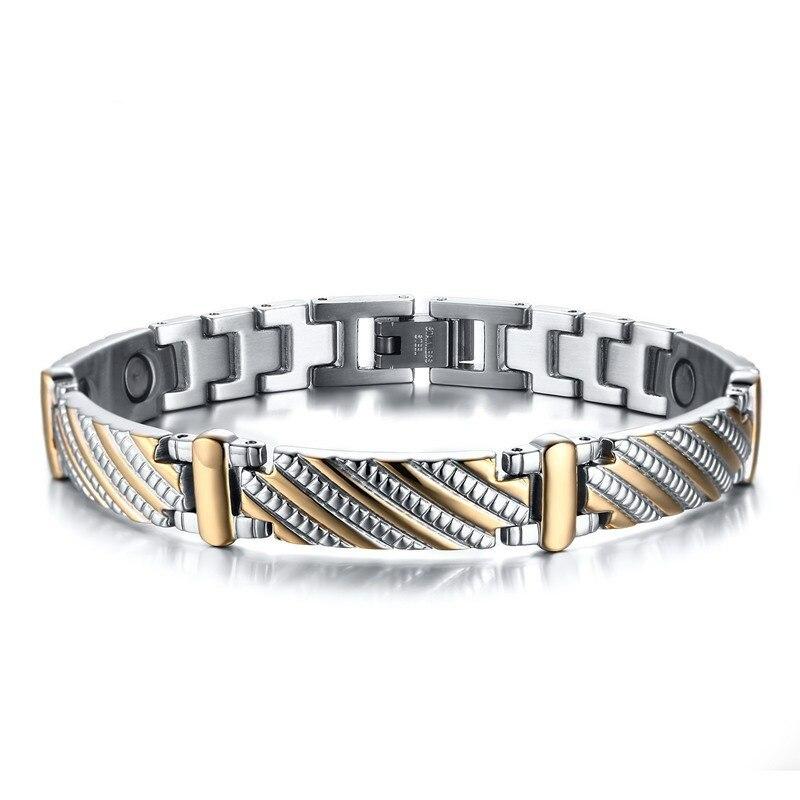 Pur titane guérison Bracelets magnétiques thérapie énergie Bracelet haute puissance aimant pour hommes pression artérielle accessoire Bracelet