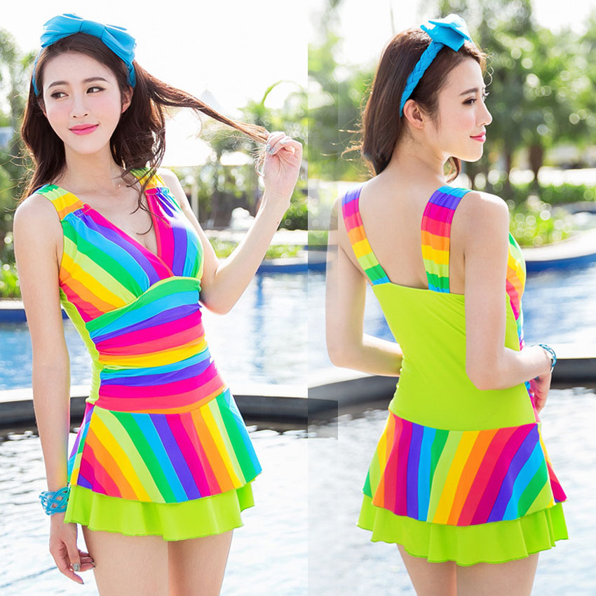 2017 Sexy Push Up Rainbow Dress Boxers One Piece suit Backless Swimsuit Bathing Suit For Women Girl Swimwear Beachwear M-XL 2017 sexy push up dress one piece suit boxers pleated show thin swimsuit bathing suit for women girl swimwear beachwear m 2xl