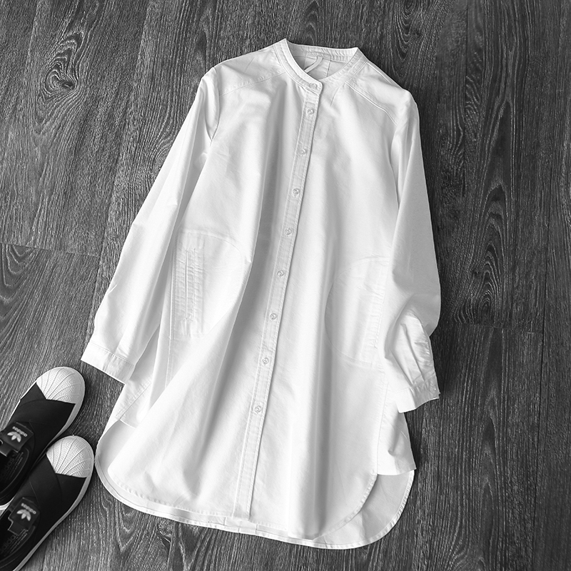 2019 summer new white cotton women blouse and shirts long sleeved loose solid elegant office lady shirts outwear coat tops-in Blouses & Shirts from Women's Clothing    1