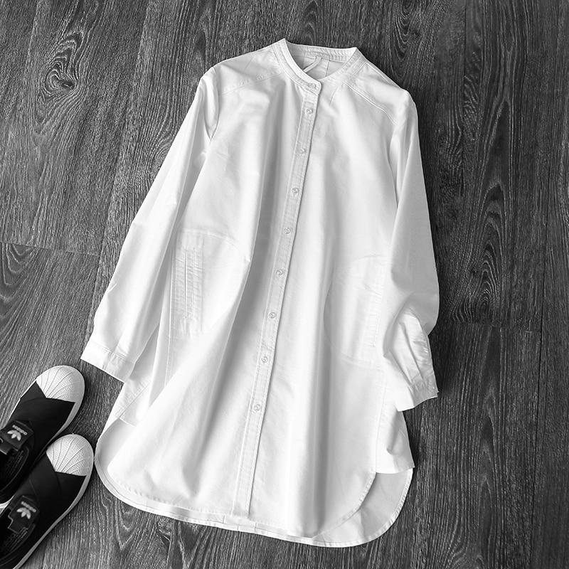 2019 été nouveau blanc coton femmes blouse et chemises à manches longues lâche solide élégante dame de bureau chemises outwear manteau tops-in Blouses & Chemises from Mode Femme et Accessoires on AliExpress - 11.11_Double 11_Singles' Day 1