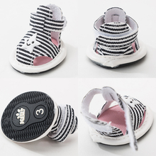 Hipidog Canvas Striped Star Dog Summer Shoes Breathable Pet Skidproof Boots For Chihuahua Teddy Yorkshire Small Dogs