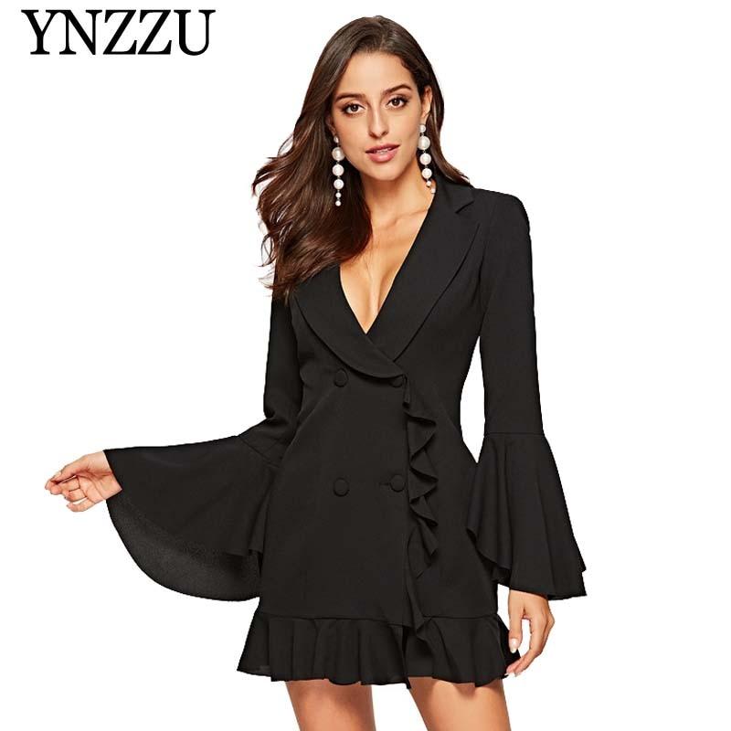 2019 New Elegant Double Breasted Women Black Dress Ruffle Flare Sleeve White Blazer Dresses Spring Short Female Dress Suit AO818