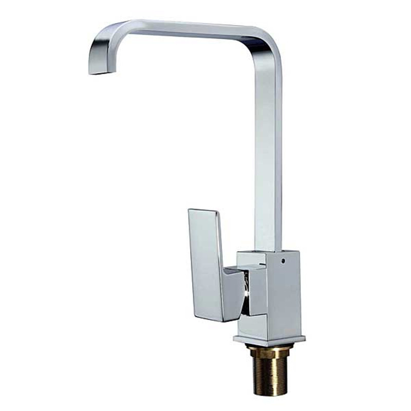 Xueqin Modern Chrome Solid Brass Kitchen Sink Mixer Tap Square Single Lever Faucet 360 Rotation Hot