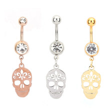 Skull pendant Silver / gold / rose gold Navel Piercing Navel Belly Button Rings Women Body Jewelry(China)