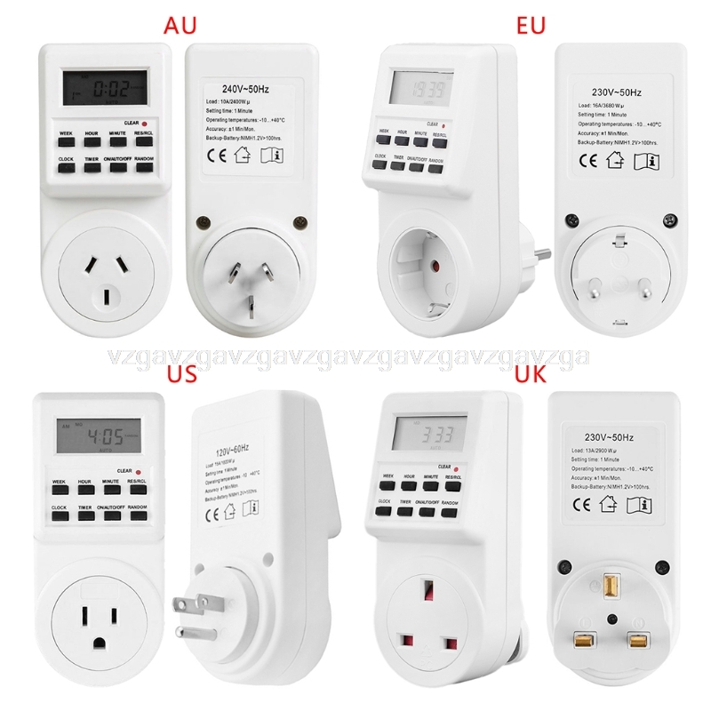 Plug-in Timer Switch Socket Digital LCD Display Smart Electrical Programmable manhua weekly programmable 220vac 25a electrical school bell timer 68 on duration 1 99 seconds program with lcd display ms316b