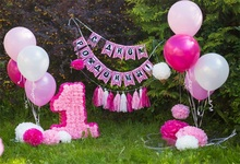 Laeacco Bebê 1 Decoração Balão Do Aniversário Da Flor Grama Ao Ar Livre Foto Cenários Para Photo Studio Fundos Fotográficos Personalizados