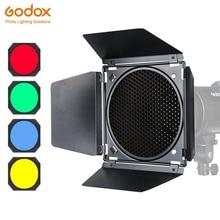 Godox BD 04 Puerta de Granero + rejilla de panal + 4 Filtro de Color rojo/azul/Verde/amarillo para montaje Bowen estándar Reflector Accesorios Flash