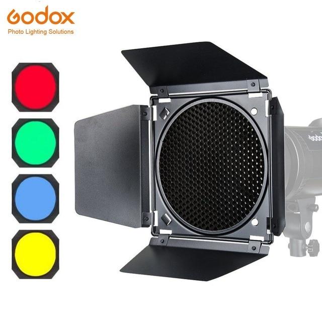 Godox BD 04 porta do celeiro + grade favo de mel + 4 filtro cor vermelho/azul/verde/amarelo para bowen montagem refletor padrão flash acessórios