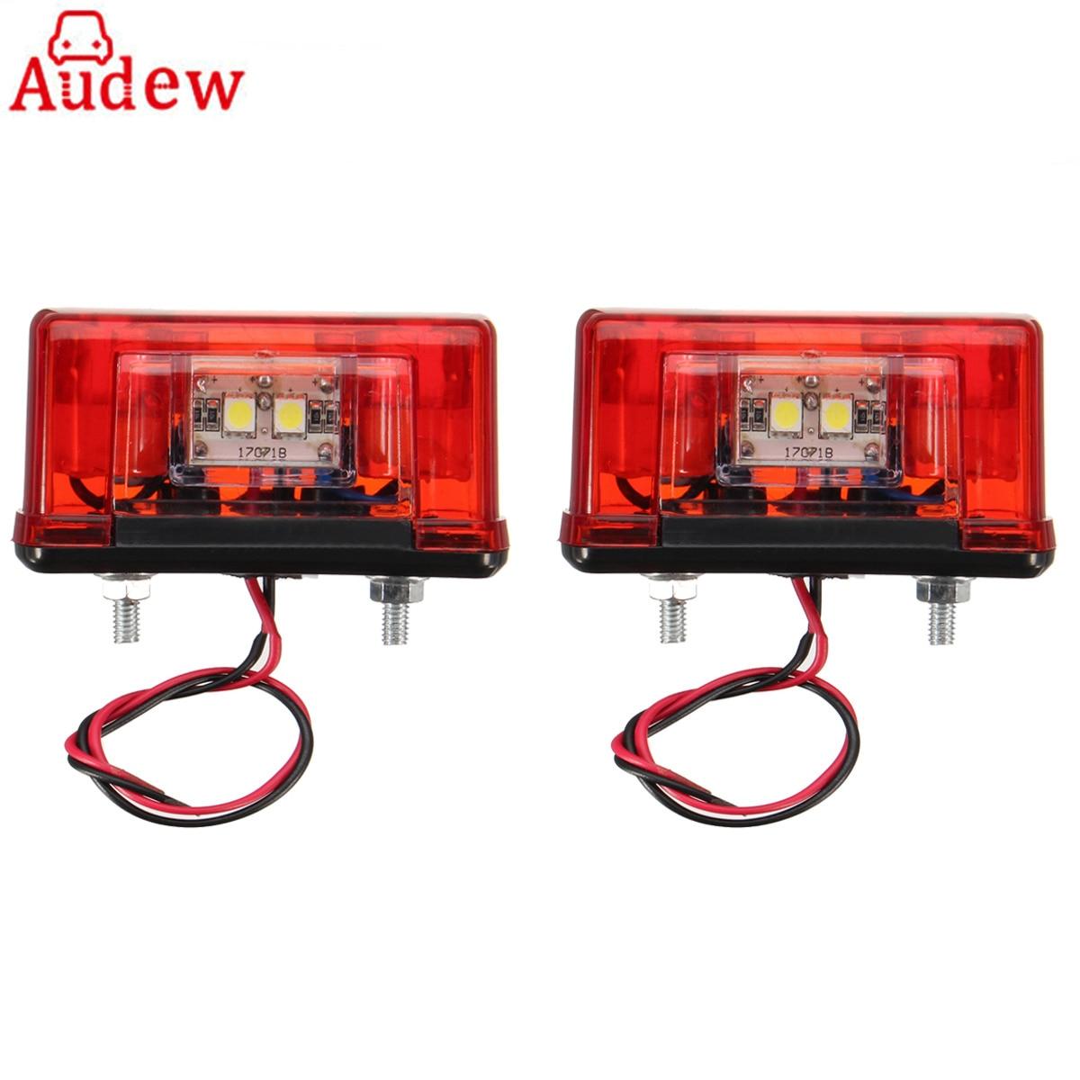 2Pcs 12V / 24V Truck Car 4LED License Plate LED Light Side Light Rear Tail Lamp Waterproof 2pcs truck light 4 leds lamp
