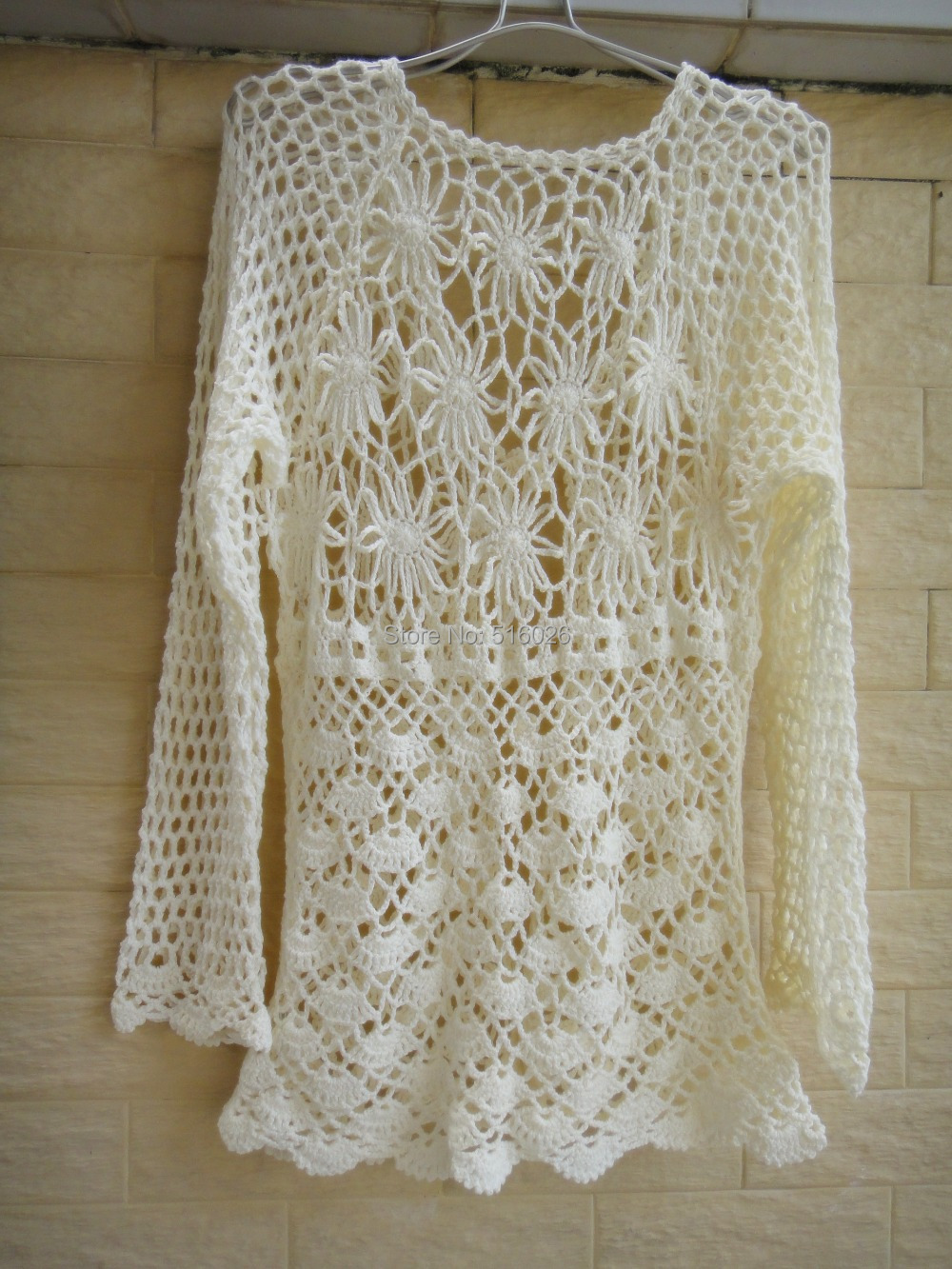 Ivory Women Open Cardigan Sweater Handmade Crochet Blouse Top Long  Sleeve,in Blouses \u0026 Shirts from Women\u0027s Clothing \u0026 Accessories on  Aliexpress.com