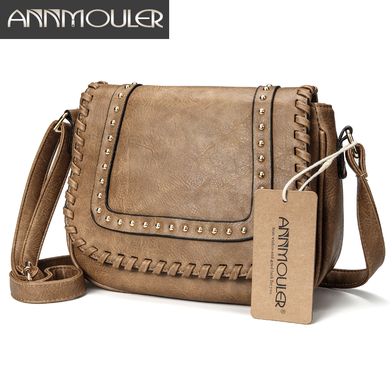Annmouler Fashion Women Shoulder Bag Pu Leather Crossbody Bag Solid Color Brand Purse Small Khaki Messenger Bag For Ladies