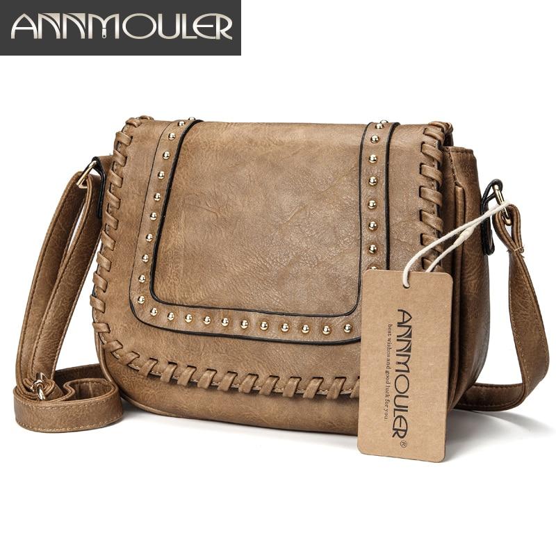 Annmouler Fashion Women Shoulder Bag Pu Leather Crossbody Bag Solid Color Brand Purse Small Khaki Messenger Bag For Ladies