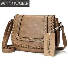 Annmouler 패션 여성 숄더 가방 Pu 가죽 Crossbody 가방 솔리드 컬러 브랜드 지갑 숙녀를위한 작은 카키 메신저 가방