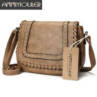 Annmouler moda damska torba na ramię Pu skóra solidna torba typu crossbody kolor marka torebka mała Khaki torba dla pań