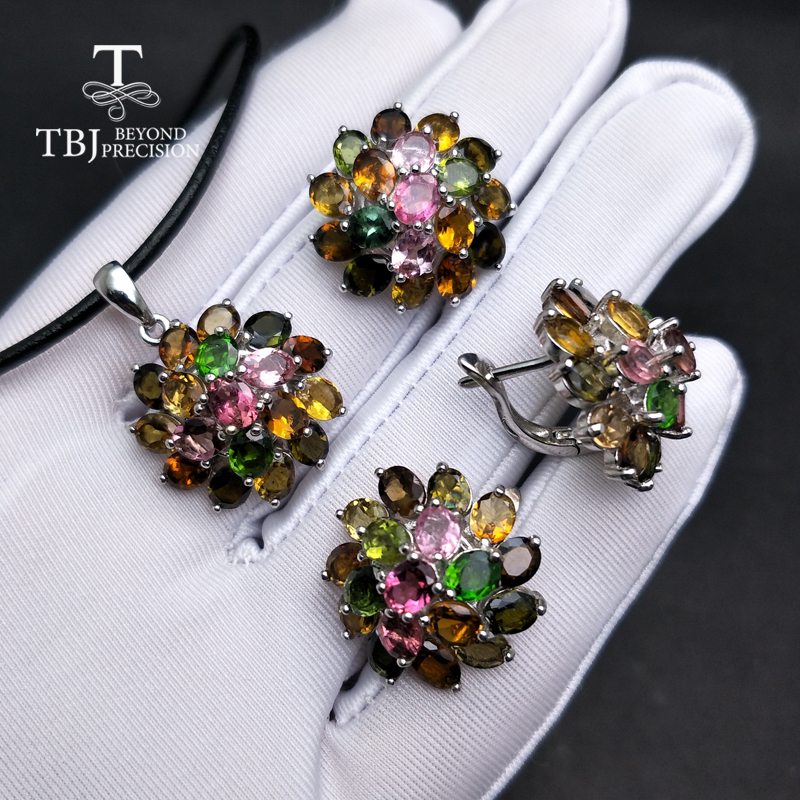 TBJ,natural multicol tourmaline gemstone jewelry set in 925 silver,classic design gemstone jewelry for women with Valentine gift