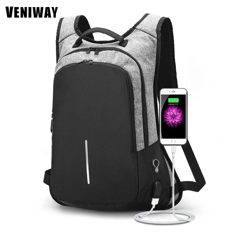 VENIWAY NEW XD City Design Anti-theft Backpack USB Charging Men Laptop Backpacks For Teenagers Male Mochila Waterproof backbag veniway xd anti theft backpack women men backpacks usb charge laptop design male travel backpack for girls school bag boys