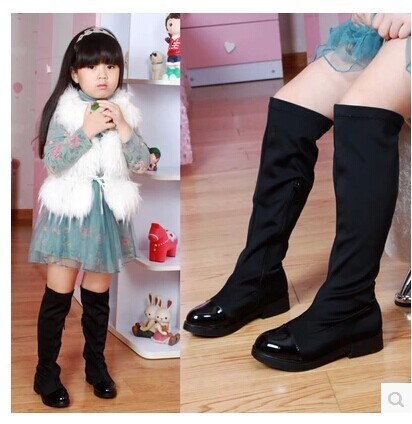 36c8e4d4387 2015winter female child boots child stretch fabric over-the-knee boots with  a single casual shoes boots high-leg