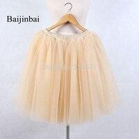 Baijinbai New Hot Sale Best Quality Yellow Layers Tulle Skirt Women Petticoat Elastic Underskirt No Hoops
