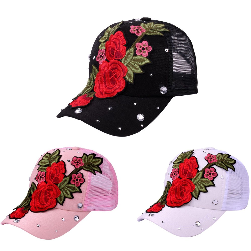 Women hat Girl Fashion Baseball Cap Cotton Denim Casual Summer Hats Floral Snapback