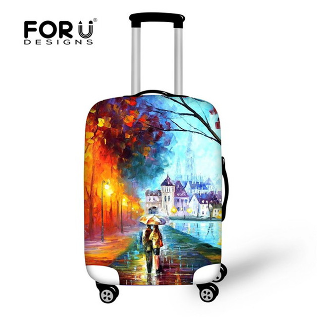 FORUDESIGNS Thick Elastic Luggage Protective Cover With Ziper For 18 -30 Inch Trunk Case Waterproof Travel Suitcase Cover Rain