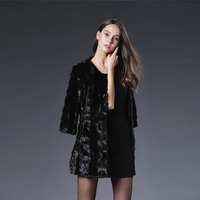 2016 Nueva piel de Visón Auténtico Mantón de Abrigo Negro Chaqueta de Las Mujeres larga Chaqueta de Piel de Visón de Lujo de Invierno de Tres Cuartos SleeveThick Visón de piel