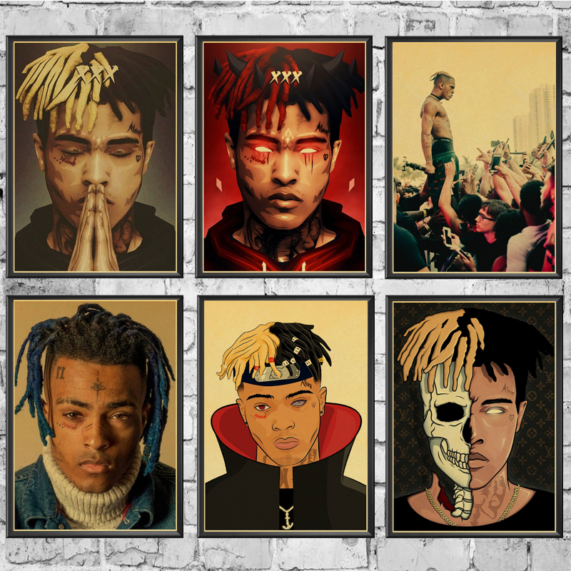Classic American Rapper Xxxtentacion Retro Poster Prints High Quality  Wall Stickers  For Living Room Home Decoration