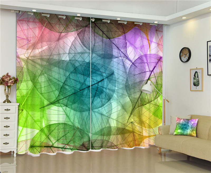 Blackout Window Curtain Bright Leaves 3d Curtains For Bedding Room Living Room Hotel Drapes Cortinas De Sala
