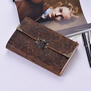 Image 2 - Aibecy اليدوية تنقش نمط لينة دفتر يوميات من الجلد مع قفل ومفتاح مذكرات المفكرة كرافت ورقة للأعمال المسافر