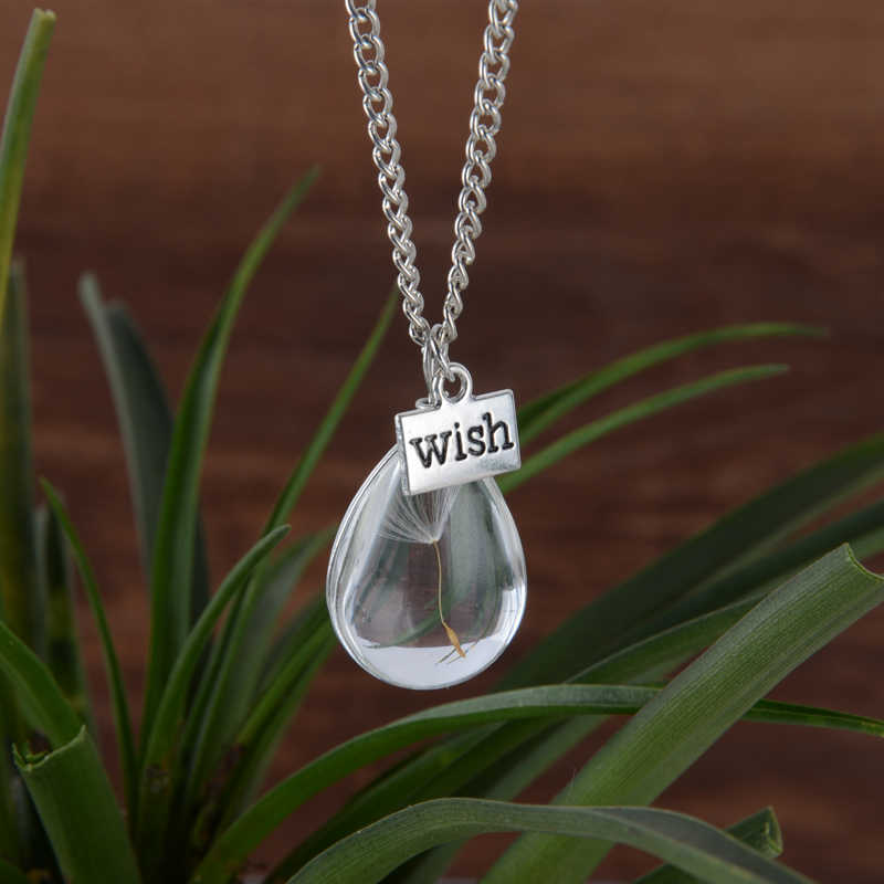 Wish Glass Bottle Real Dandelion Seeds endant Necklace Lucky Locket Jewelry For Women Friend
