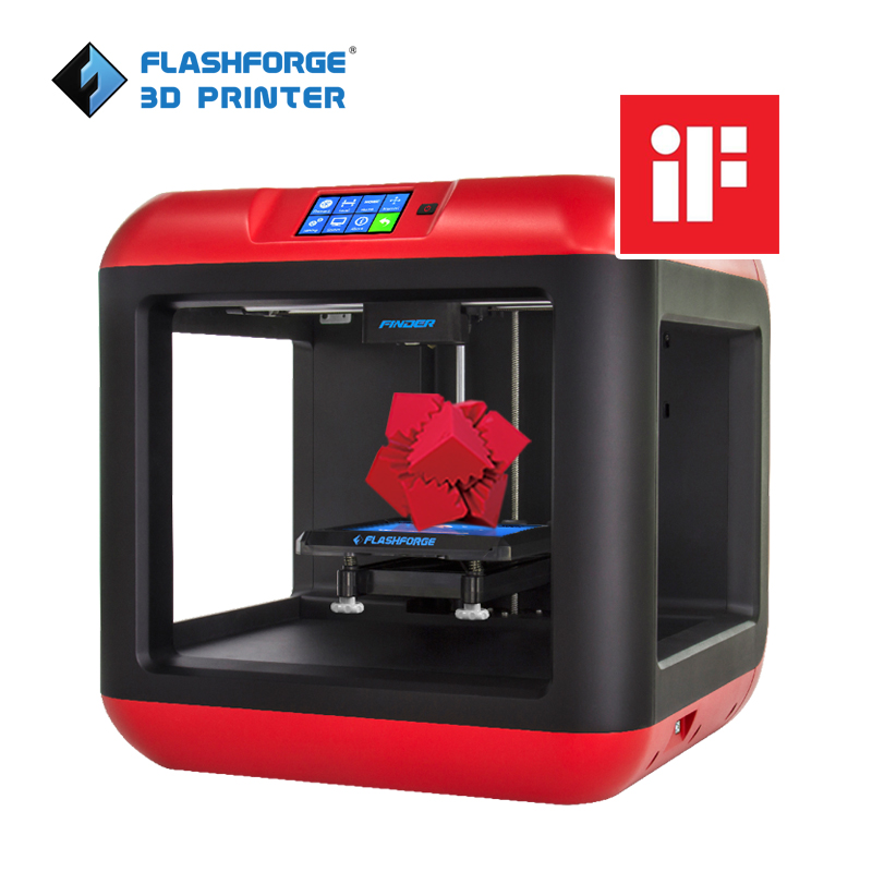 Flashforge 3D Printer Finder Nivellement automatique Plate-forme amovible Extrudeuse simple avec / filament PLA à 2 bobines