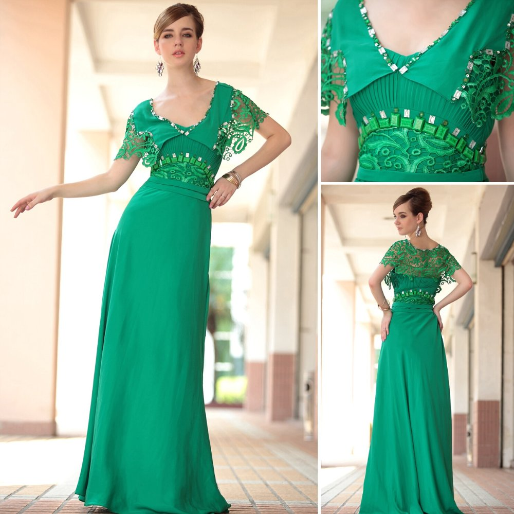 Free shipping DorisQueen new 30638 green long maxi vintage formal ...