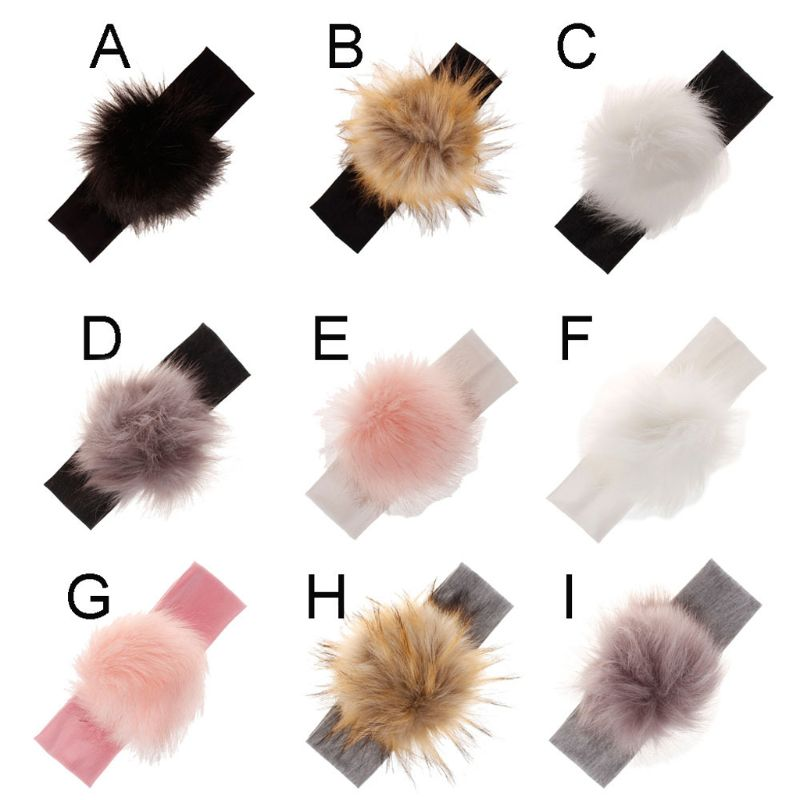 Children Girls Elastic Hair Bands Raccoon Faux Fur Pompoms Baby Headband Cotton Turban For Girl Toddler Headbands