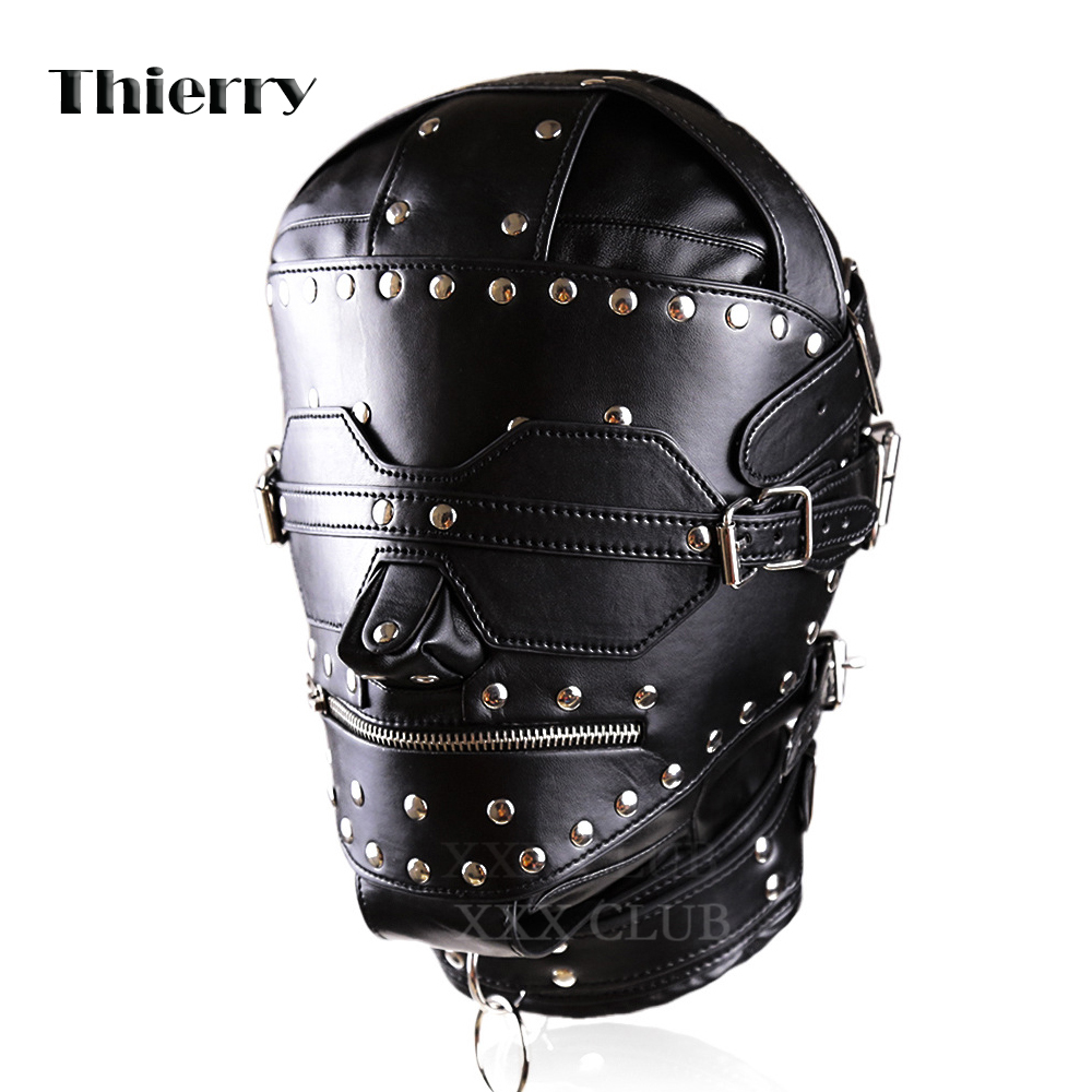 Thierry Pu Leather Bondage Hood with Posture Collar and Zippers SM Totally enclosed with blindfold zip Locking Slave head hood pu leather and corduroy spliced zip up down jacket