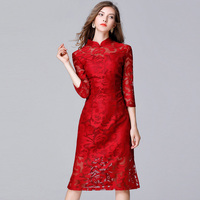 Women Autumn Jacquard Plus Size Lace Dress 5xl Large Size Hollow Out Three Quarter Sleeve Cheongsam