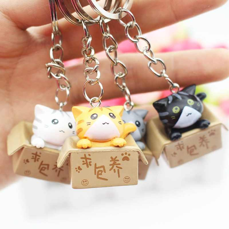 1pcs Random Color Lovely Cartoon Cat Key Rings Chains Pendant Ornament Keychain
